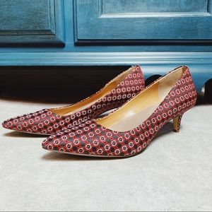 J Crew Factory Esme Medallion Kitten Heels Red